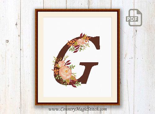 Monogram G Cross Stitch Pattern