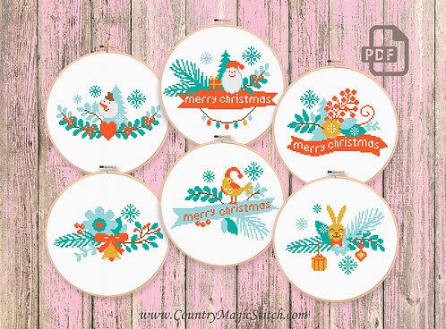Set of 6 Patterns Merry Christmas Cross Stitch #ch016
