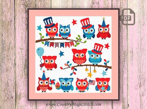 Fourth of July Owl Cross Stitch Pattern #owl12