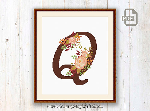 Monogram Q Cross Stitch Pattern