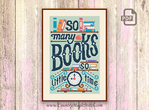 So Many Books So Little Time Cross Stitch Pattern #oth033