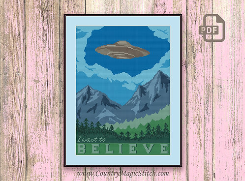 I Want To Believe Cross Stitch Pattern #tv014