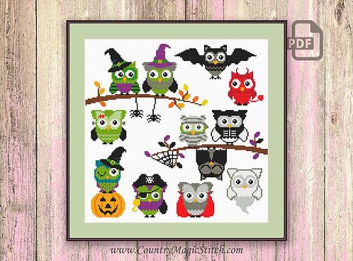 Halloween Owls Cross Stitch Pattern #hl007