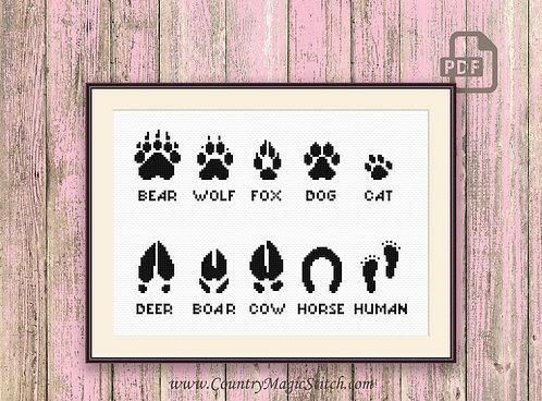 Footprints Animals Cross Stitch Pattern #oth010