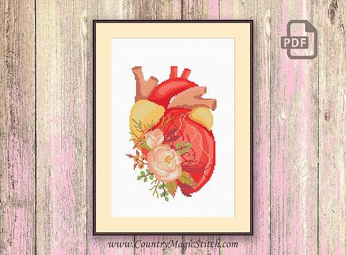 Human Heart Cross Stitch Pattern #oth049