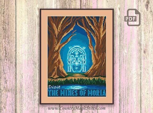 Visit The Mines Of Moria Cross Stitch Pattern #tv064