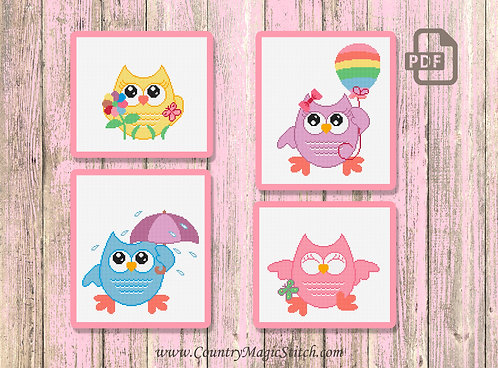 Set of Four Patterns Owls for Kids Cross Stitch Patterns #owl01