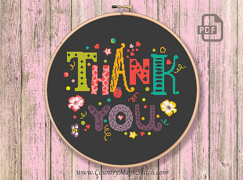 Thank You Cross Stitch Pattern #tg005