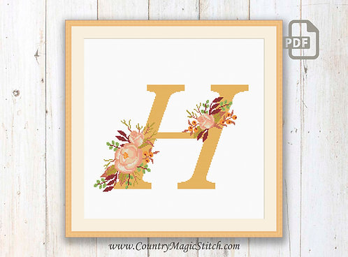Monogram H Cross Stitch Pattern