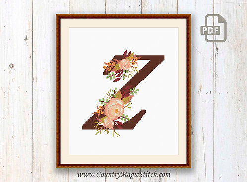 Monogram Z Cross Stitch Pattern