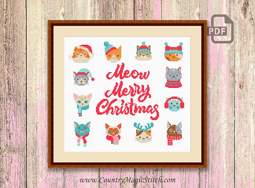 Meow Merry Christmas Cross Stitch Pattern #ch021