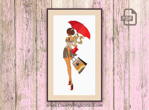Girl With Umbrella Cross Stitch Pattern #oth023