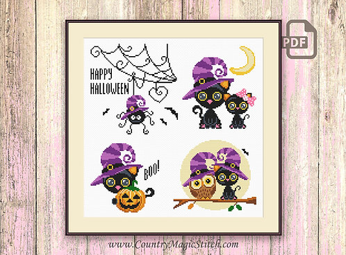 Set of Halloween Cross Stitch Pattern #hl011