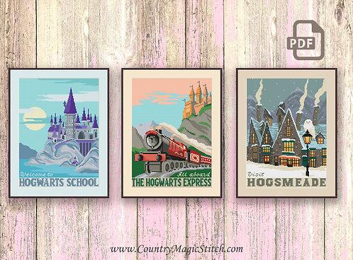 Cross Stitch Pattern Welcome to Hogwarts School, Cross Stitch Pattern All Aboard