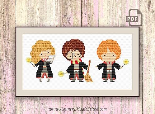 Kids Wizards Cross Stitch Pattern #hp009