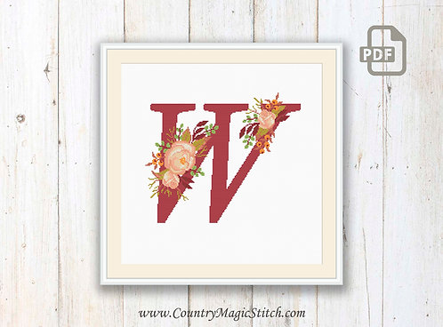 Monogram W Cross Stitch Pattern
