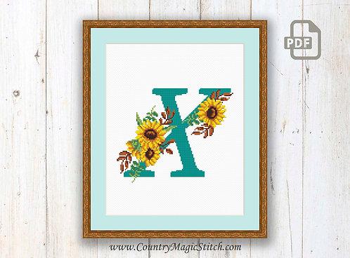 Monogram X Cross Stitch Pattern