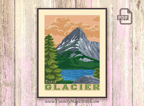 Visit Glacier Cross Stitch Pattern #ntp003