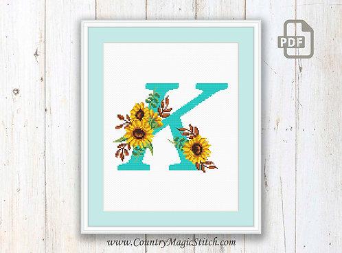 Monogram K Cross Stitch Pattern
