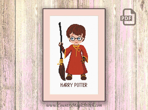 Little Wizard Boy Cross Stitch Pattern #hp002
