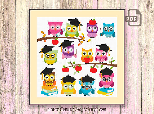 School Owls Cross Stitch Pattern #owl13