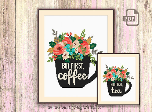 Set of 2 Patterns But First Coffee Cross Stitch Pattern #kt03