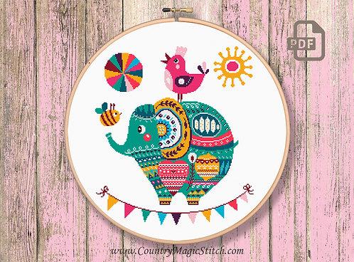 The Elephant Cross Stitch Patterns #oth008