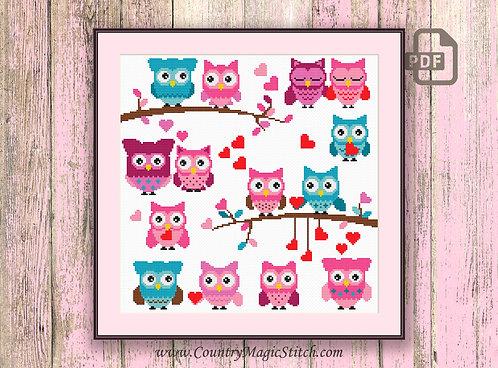 Valentine Owls Cross Stitch Pattern #owl07