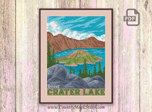 Visit Crater Lake Cross Stitch Pattern #ntp004