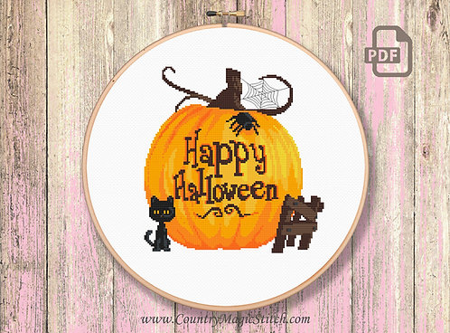 Happy Halloween Cross Stitch Pattern #hl004