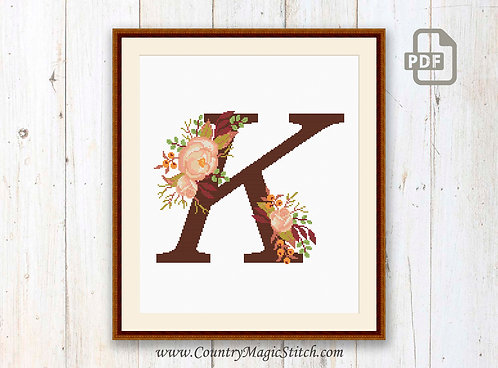 Monogram K Cross Stitch Pattern