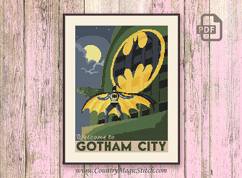 Welcome to Gotham City Cross Stitch Pattern #tv004