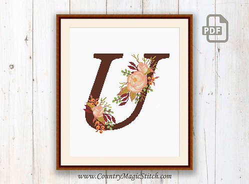 Monogram U Cross Stitch Pattern