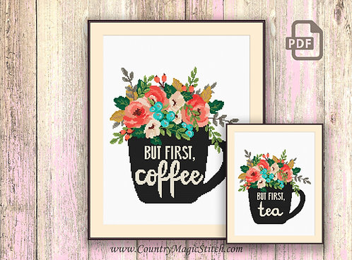 Set of 2 Patterns But First Coffee Cross Stitch Pattern #kt03