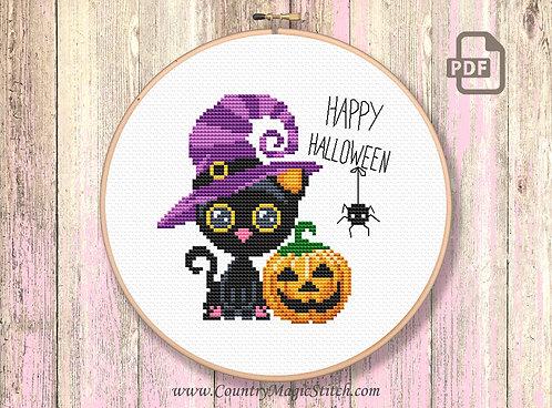 Halloween Cat Cross Stitch Pattern #hl012