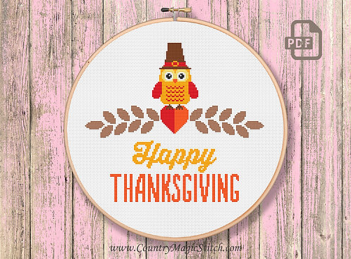 Thanksgiving Owl Cross Stitch Pattern #tg001