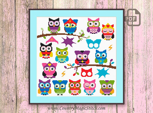 SuperHero Owls Cross Stitch Pattern #owl14