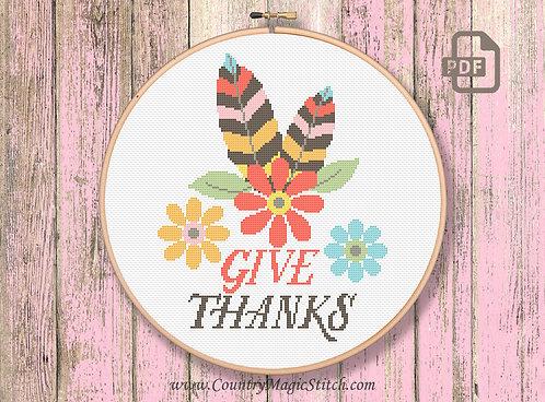 Give Thanks Cross Stitch Pattern #tg006