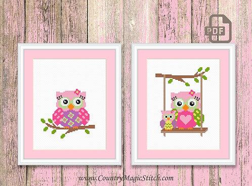Set of 2 Owls Cross Stitch Pattern #owl04