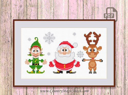 Christmas Trio Cross Stitch Pattern #ch004