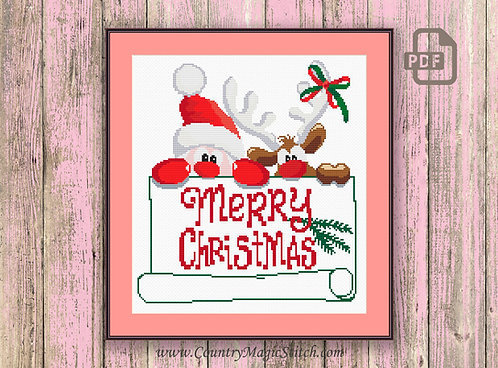 Santa Claus and Christmas Moose Cross Stitch Pattern #ch002