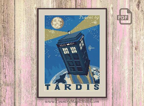 Travel by Tardis Cross Stitch Pattern #tv006