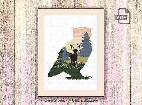 Owl Silhouette Cross StitchPattern #hp014