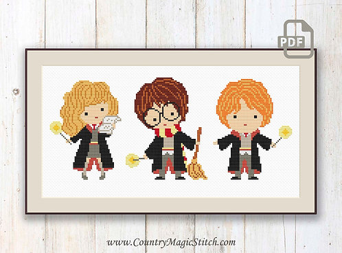 Kids Wizards Cross Stitch Pattern #hp009
