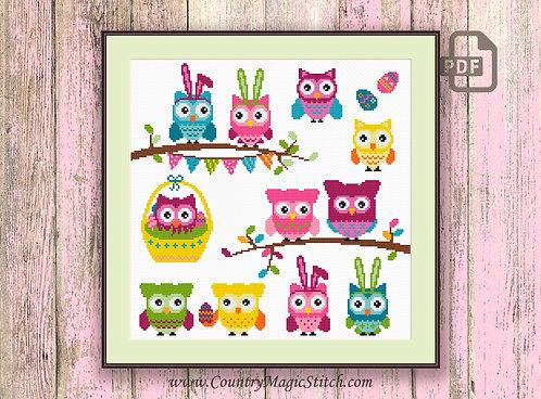 Easter Owls Cross Stitch Pattern #owl06