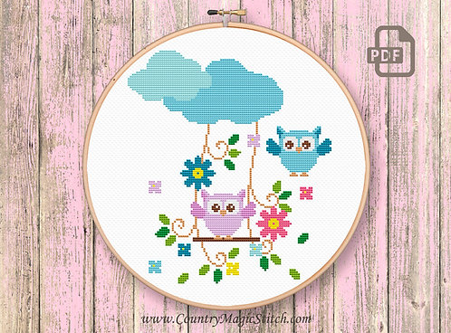 Cute Owls With Swing Cross Stitch Patterns #owl03