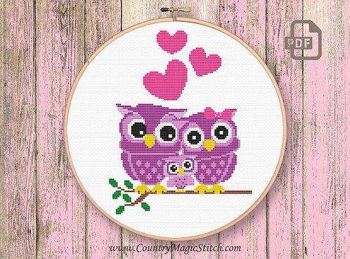 Cute Owls Family Cross Stitch Pattern #owl02