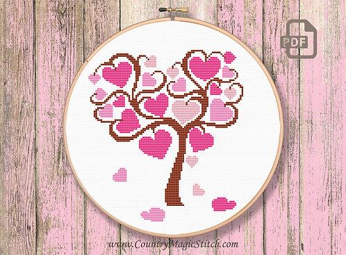 Tree of Hearts Cross Stitch Pattern #v005
