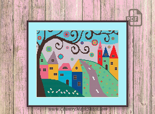 Colorful Houses Cross Stitch Pattern #oth003