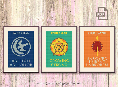 House Arryn, House Tyrell, House Martell Cross Stitch Pattern #got036